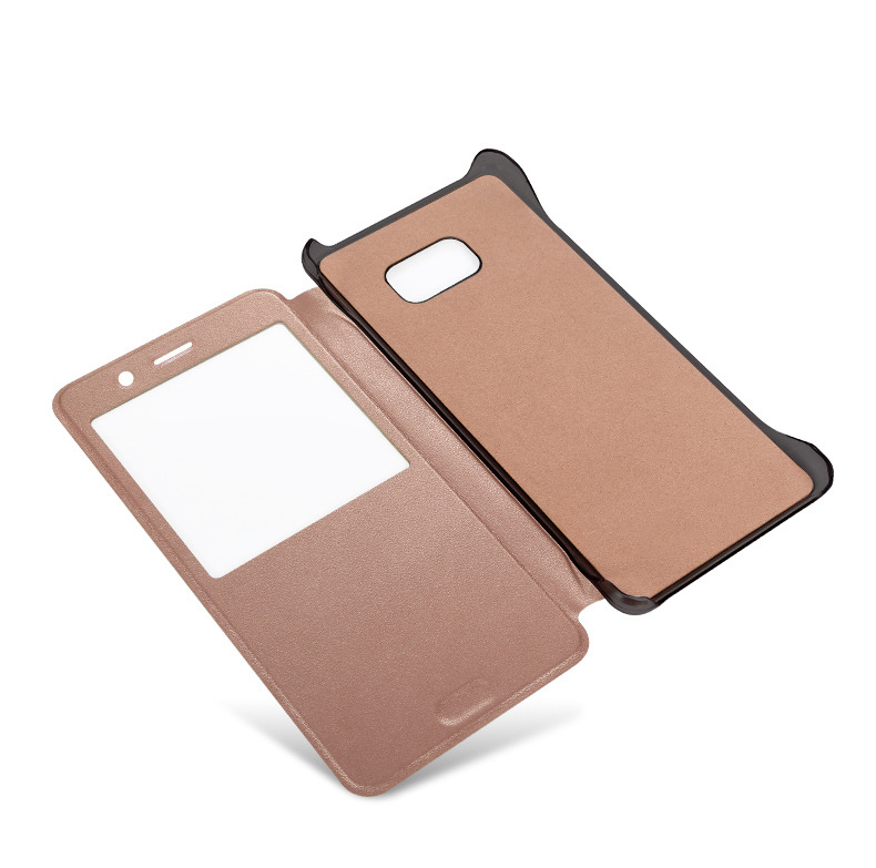 Wholesale all Plug Fit Business Flip PU Cover PC Back Shell with Flip Window View Case for Galaxy Note 7 Cell Phone Sleeve Case