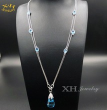 Popular fashion pendant necklace with blue color tear drop rhinestone silver plated long chain for sweater