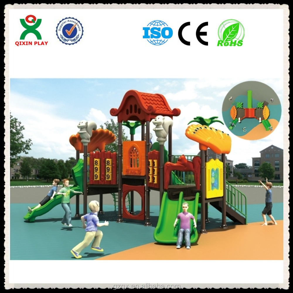 Plastic toy backyard play structures, plastic slides for kids, outside playground for toddlers QX-020B