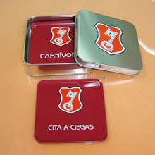 promotional wood tin cup coasters set 4