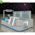 Creative white and blue mobile phone accessories display rack shopping mall cell phone fix kiosk customize