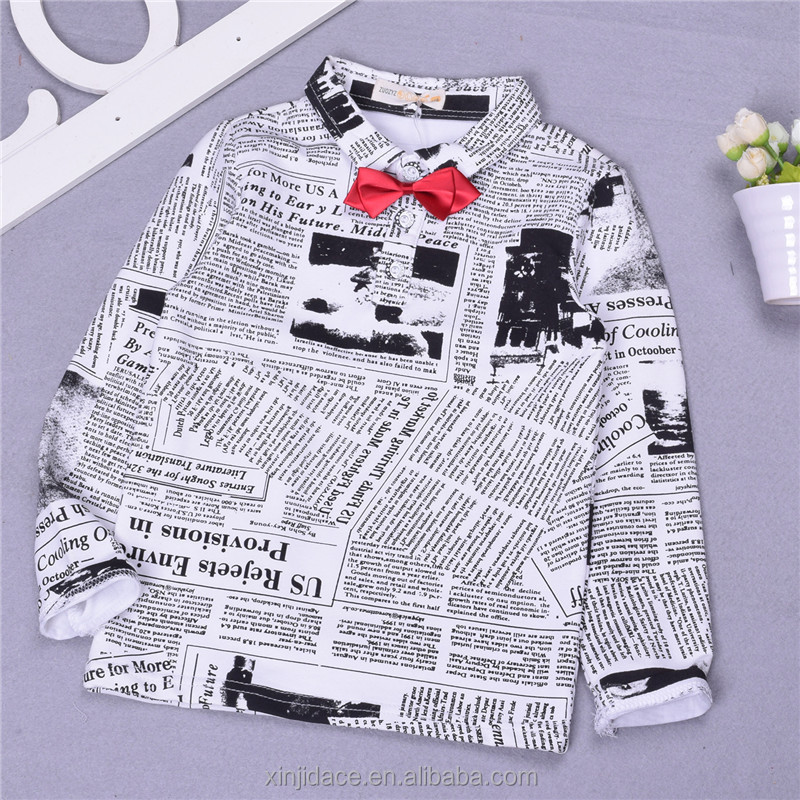 2017 fashion-leading kids clothes newspaper design french script fabric children polo t shirt