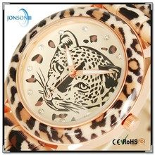 Fashion Designer Leopard Head Decoration Wrist Watch with luminous hands and stainless steel case back