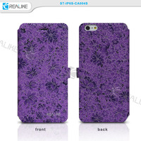 Newest flower pattern Pu leather super thin wallet case for iphone 6 , for iphone 6 case packaging
