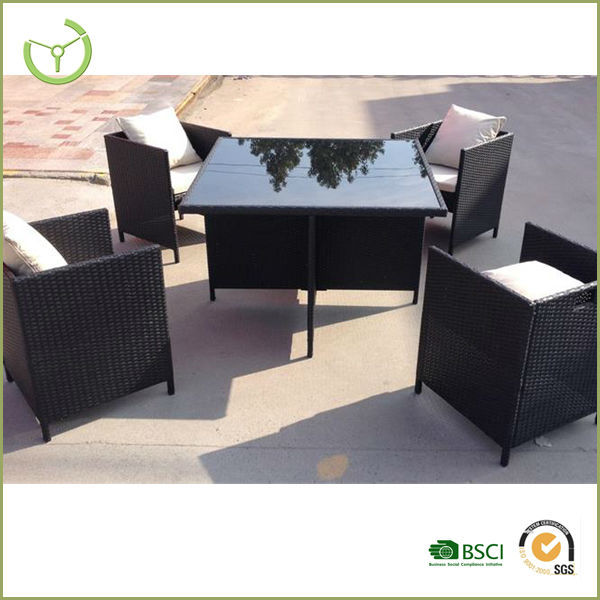 Rattan Garden Furniture 4 Seater black rattan garden dining table - destroybmx