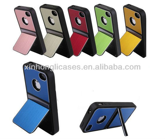 Aluminum TPU Hard Case Cover w/Chrome Stand For iPhone 4 4S