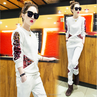Export Quality Customized Logo Sequin Detail Fashion Sports Suit For Lady