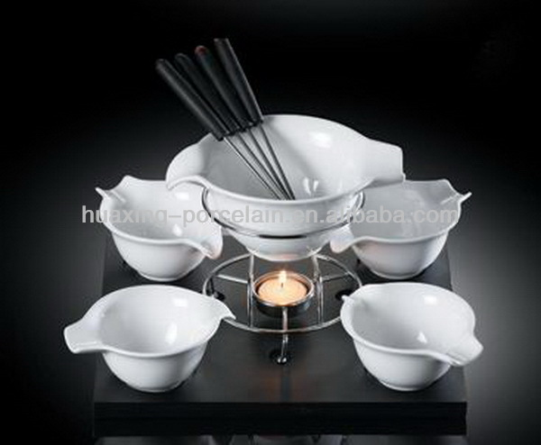 Oem acceptable customer design high white porcelain cheese fondue set for sale