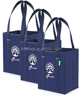 Reusable Grocery Shopping Bag Box Set - 3 Pack - Premium Quality, Super Strong Tote with Reinforced Bottom - Holds 30 lbs, Eco F