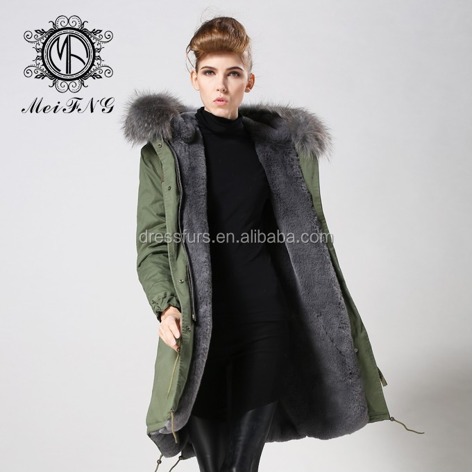 Elegent Women Long Parka Grey Fox Fur Coat With Thick Raccoon ...