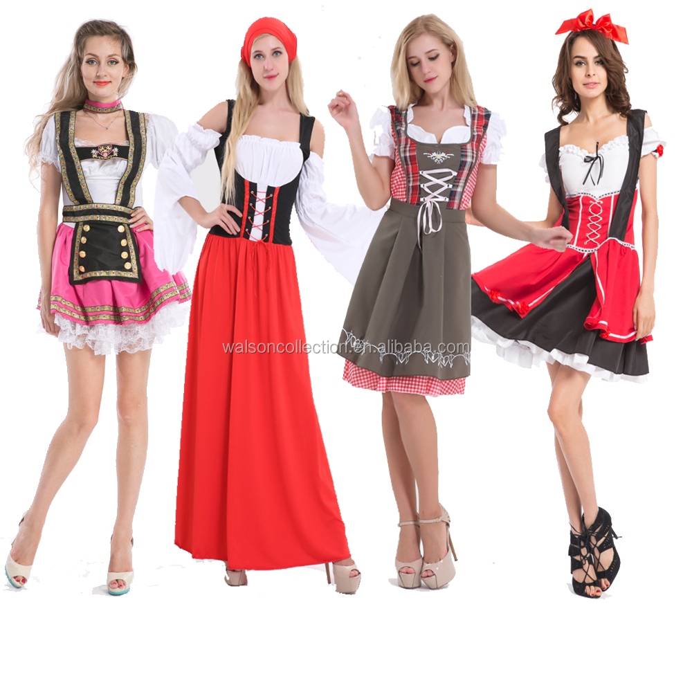 China factory Adult WOMEN FAIRYTALE FANCY DRESS COSTUME RED GERMAN Dutch Costume Beer Girl Oktoberfest costume