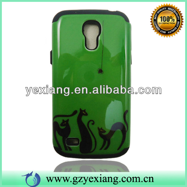 Green Skin Black Cat Wholesale Cell Phone Protector Case For S4 Mini I9190