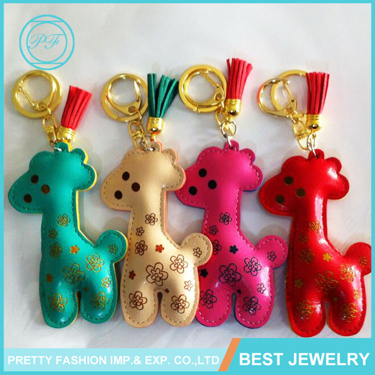 Cute Cartoon Giraffe Keychain Live Leather Animal Baby Keychain