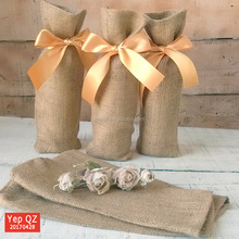 Beautiful natural color burlap jute drawstring Personalized Wine Gift Bags with yellow ribbon strings