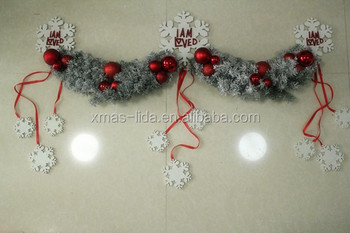 LUXURY pvc Christmas Garland /Wreath with snowflake and babubles