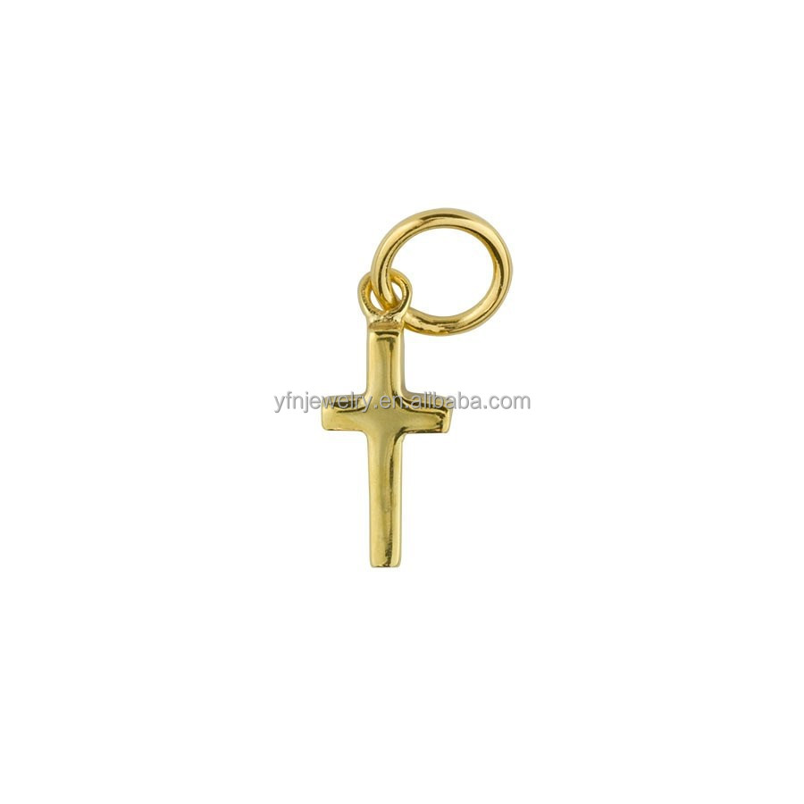 24K Gold Plated Cross Style Religious Charm Jewellery in Silver
