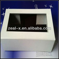 Plain White Outside Gift Paper Plastic Window Packaging Box With PVC Window