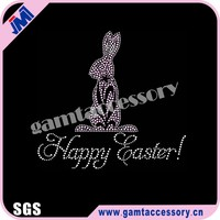 New Design Happy Easter Bunny Motif Rhinestone Transfers for Garment