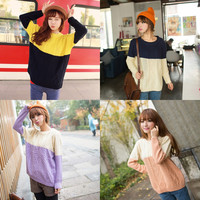 2015 Fall New College Wind color round neck knit sweater