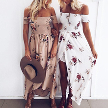 trendy women clothing summer beach off the shoulder slit maxi floral print dresses