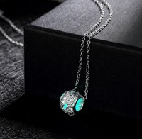 MRY032 Charms Jewellery Zircon Stone Glow in the dark Ball Shape Pendant Metal alloy Necklace
