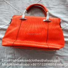 2017 year used bags,secondhand bags/shinning colour lady leather handbags / used clothing lots