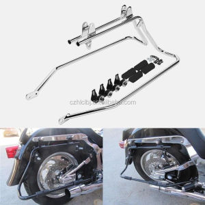 Chrome Heavy duty Saddle bag Conversion Brackets Set For Harley Davidson Softail