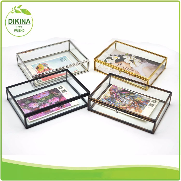 Mirrored Bottom Small Ring >> Hand Painted Glass Floral Box Romantic gold mirrorglass box wholesale mirrored jewelry box