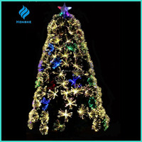 2016 newest 4ft PVC warm white LED multicolor Fiber Optic Christmas Tree outdoor 140tips with white pearl ornament