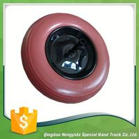 puncture proof solid pu foam rubber coated wheel
