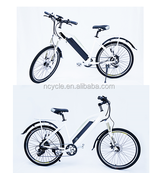36v 250w 26'' white city ebike with hidden lithium battery rear rack