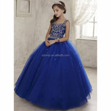 Pageant Little Girl Dresses 2018 Royal Blue Beaded Luxury Kids Prom Ball Gown