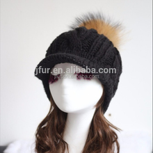 Ladies Deluxe Knitted Cap With Top Raccoon Fur Ball Winter Warm Fur Pom Pom Peaked Hat