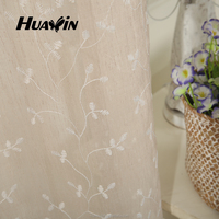soft-touching polyester linen sheer voile rope embroidery curtain