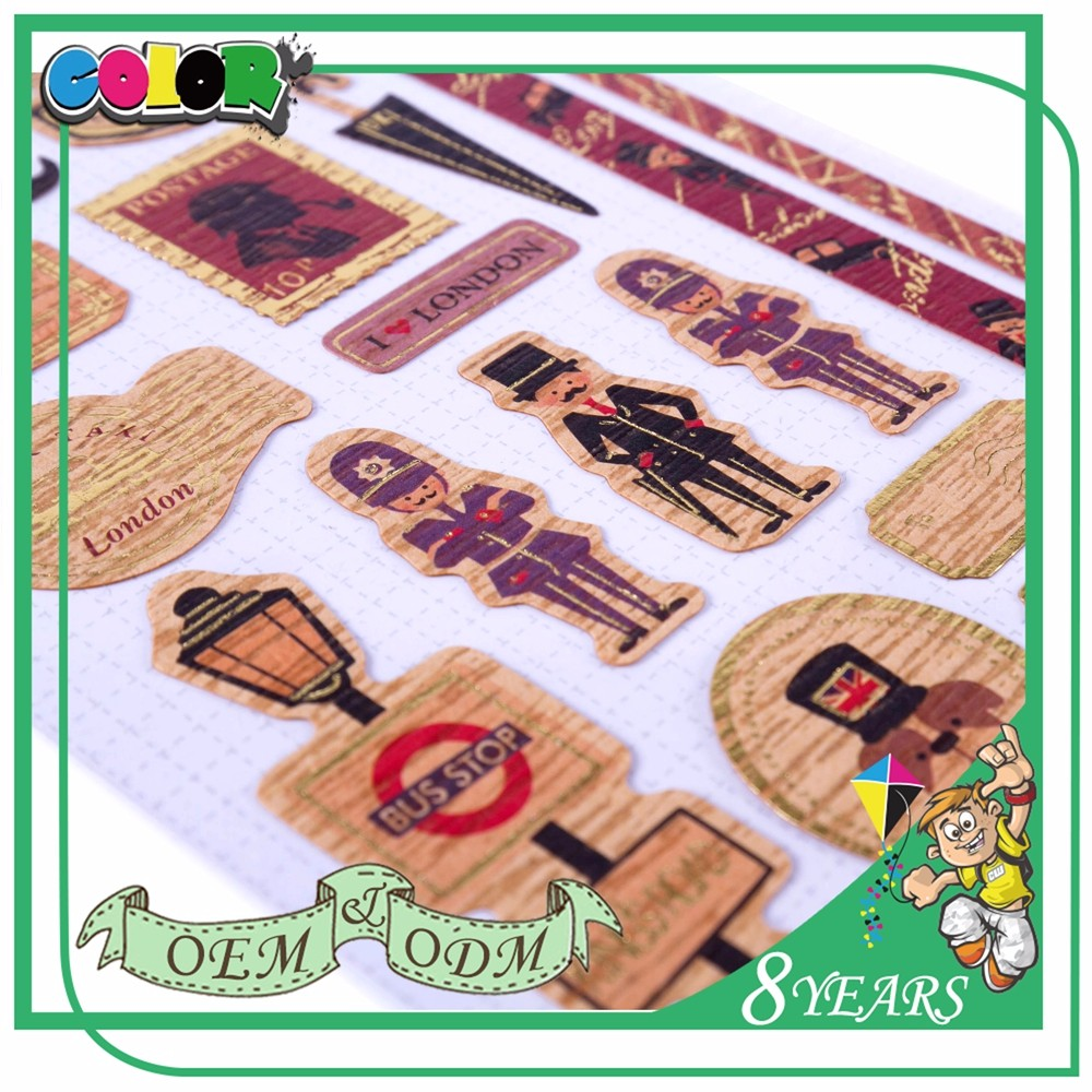 Customized Craft Paper Sticker Sheet For Kids London Theme