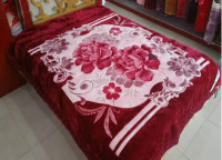 factory new embossed super soft 2 ply raschel blanket rose red color flower design