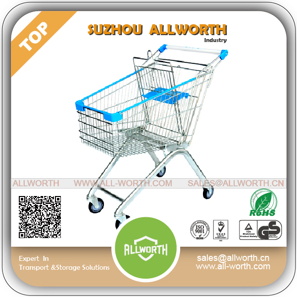 Business Plastic Hypermarket Shopping Trolley with Token