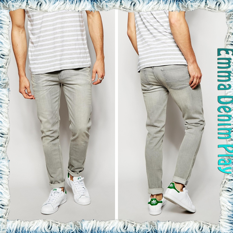 Super Skinny Low Rise Jeans With Silver Button In Mid Grey for Mens