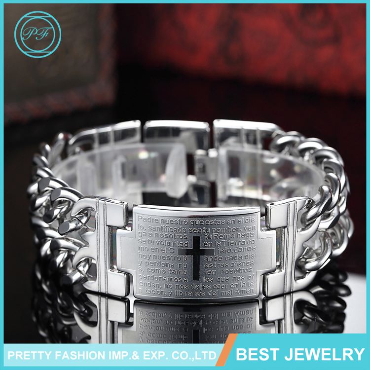 ES201610 Wholesale Fashion Jewelry Fatigue Resistence Wide Cuff Cross Bible Stainless Steel Bracelet For Men