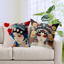 cotton&linen home decorative Chinese opera pillow case