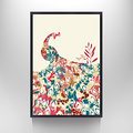 Modern Home Wall Art,Abstract Animals Canvas Prints,Different Floater Frame For Selection,Abstract Peacock Canvas