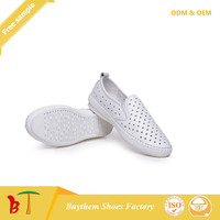 Women Genuine Shipskin Leather Cut-Outs Casual Flats Shoes