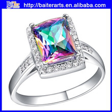 18K White Gold Plated Cubic Diamond Crystal Brass Ring Square Rainbow Stone Color Copper Ring