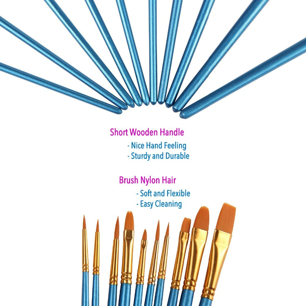 10Pieces Round Pointed Tip Nylon Hair Brush Set Blue