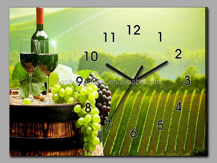 Rectangle canvas wall clocks with red wine photo,decorate wall clock