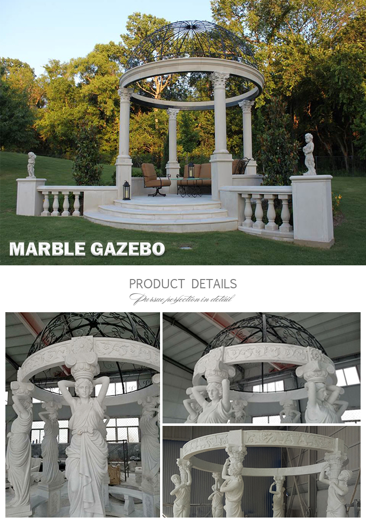 Western style large custom fine carving wedding outdoor garden white marble stone gazebos with ladies column