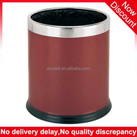 Hotel supplies steel ring double layer red color metal cheap trash can, hotel waste basket