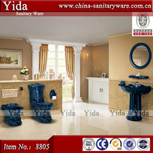 Old fashion toilet, decovative toilet with basin bidet, Foshan sanitary ware dark blue color toilet set