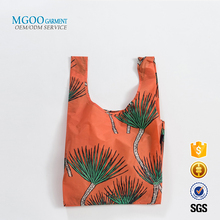 Nylon all over print reusable bags Custom sublimation grocery shopping bag Orange ripstop bags