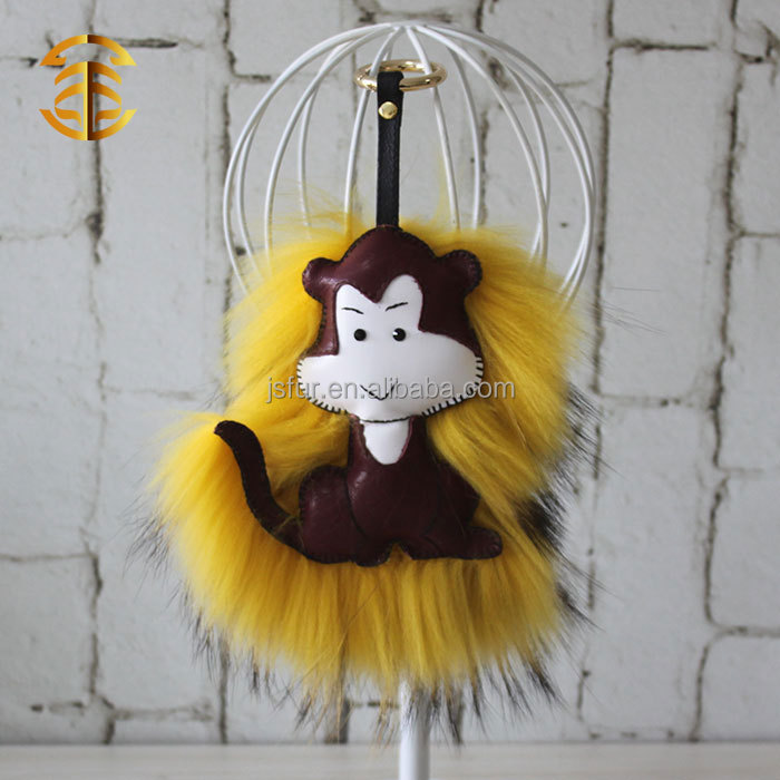 New Comer Chinese Fur Bag Charm Customized Chains Leather Key Chain